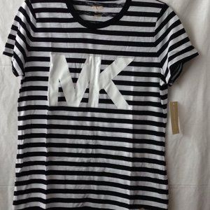 MICHAEL KORS Striped T-Shirt Sz M Black
